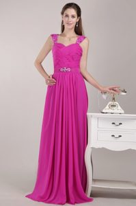 Beaded Straps Brush Train Hot Pink Chiffon Prom Pageant Dresses with Ruching