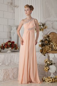 Chic Peach One Shoulder Brush Train Ruched Chiffon Pageant Dress with Beading