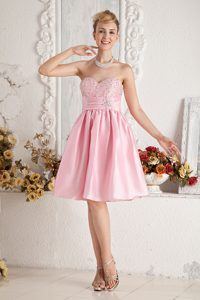 Baby Pink Sweetheart Knee-length Ruched Taffeta Beaded Pageant Dress on Sale