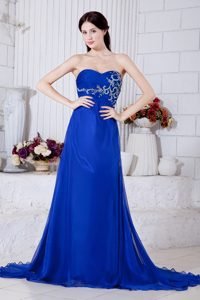 Royal Blue Sweetheart Court Train Ruched Chiffon Pageant Dress with Appliques