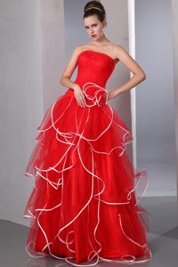 Strapless Floor-length Red Organza Pageant Dresses for Miss USA with Ruffles