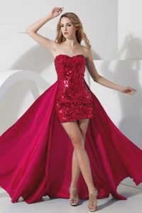 Sexy Wine Red Sweetheart Mini-length Sequin Pageant Dress with Detachable Train