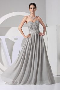 2014 Sweetheart Floor-length Gray Ruched Chiffon Pageant Dress with Appliques
