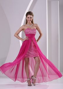 High-low Hot Pink Sweetheart Pageant Dress with Paillette over Skirt on Promotion