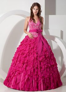 Pretty Hot Pink Ball Gown Halter Top Chiffon 2014 Pageant Dress with Embroidery
