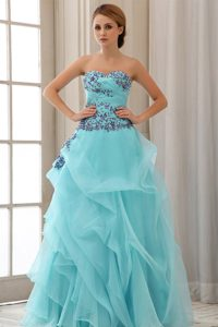 Sweetheart Aqua Blue Natural Beauty Pageant Dress with Appliques on Promotion