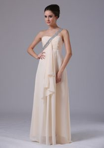 Champagne One Shoulder Empire Chiffon Pageant Dress with Ruffles on Promotion