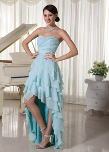 Pretty Light Blue High Low Empire Beaded and Ruched Pageant Dress with Layers