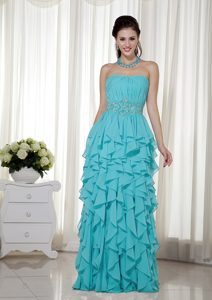 Popular Blue Empire Strapless Chiffon Pageant Dresses with Beading and Ruching