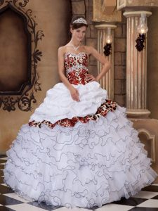 White Sweetheart Organza and Leopard Pageant Dress with Ruffles on Promotion
