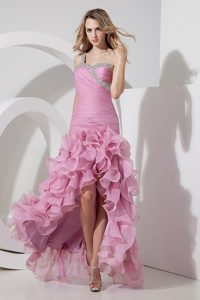 Beautiful Ruched and Beaded High-low Girl Pageant Dresses in Rose Pink