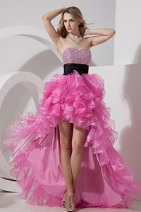 Rose Pink High-low Organza Classical Miss Universe Pageant Dress for Fall