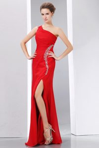 One Shoulder Beaded Red Chiffon Popular Pageant Dresses for Miss USA