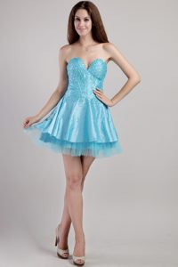 Wonderful Aqua Blue A-line Sweetheart Beauty Pageant Dresses with Sequins