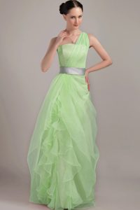 Attractive Yellow Green Lace-up Miss Mississippi Pageant Dress with Ruffles