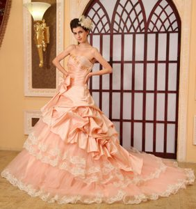 Fashionable Sweetheart Organza Pageant Girl Dresses with Cathedral Train