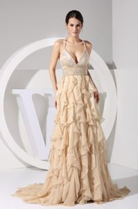 Beautiful Beaded and Ruffled Zipper-up Long Girl Pageant Dress in Champagne