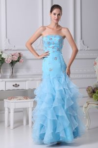 Aqua Blue Ankle-length Classical Miss Universe Pageant Dress with Beading