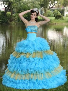 Beaded Aqua Blue and Yellow Lace-up Popular Pageant Dress for Miss USA