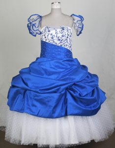 Flounced Straps Blue White Embroidered Little Girl Pageant Dress with Pick-ups
