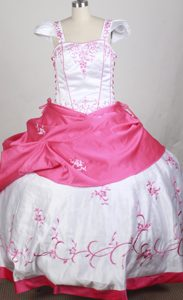 Straps Ball Gown Hot Pink and White Little Girl Pageant Dress with Embroideries
