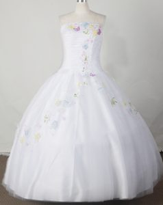Strapless Ball Gown White Ruched Little Girl Pageant Dress with Colorful Beading