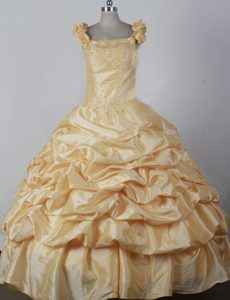 Straps Ball Gown Gold Taffeta Little Girl Pageant Dress with Pick-ups and Flowers