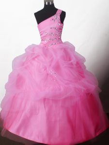 One Shoulder Hot Pink Pretty Little Girl Pageant Dress with Beading and Pick-ups