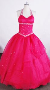 Beautiful Halter Hot Pink Princess Organza Little Girl Pageant Dress with Beading