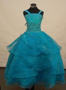 Cute Straps Teal Ball Gown Layered Organza Little Girl Pageant Dress with Beading