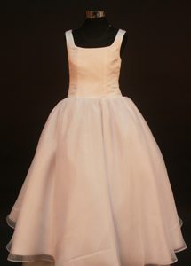 Peach Square Straps Princess Organza Little Girl Pageant Dresses on Promotion