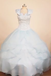 Baby Blue Straps Ball Gown Organza Beaded Little Girl Pageant Dress with Layers