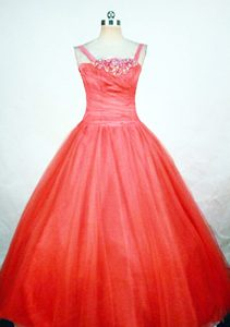 Coral Red Straps Princess Floor-length Ruched Beaded Little Girl Pageant Dresses