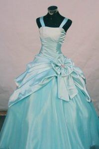 Baby Blue Taffeta and Organza Little Girl Pageant Dress with Pick-ups and Flower