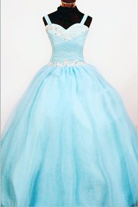 Baby Blue Straps Ball Gown Ruched Beaded Organza Little Girl Pageant Dresses