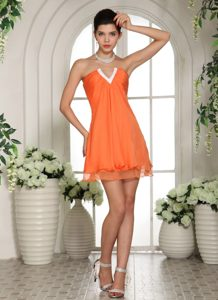 Classical Orange V-neck Mini-length Chiffon Interview Pageant Suits for Fall