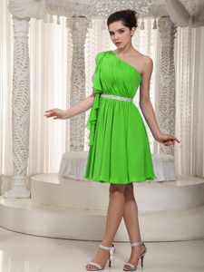 Spring Green One Shoulder Short Memorable Pageant Dresses with Ruches