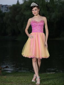 Sweetheart Pink and Yellow Short Elegant Glitz Pageant Dresses with Beading