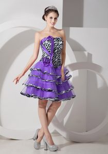 Fashionable Eggplant Purple Lace-up Zebra and Organza Dresses for Pageants