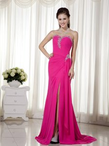Hot Pink High Slit Beaded Best Seller Natural Beauty Pageants Dress for Fall