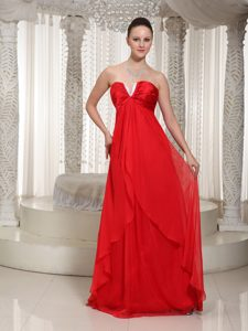 Sweet Red V-neck Chiffon Ruched and Beaded Glitz Pageant Dresses for Fall