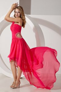 Unique Hot Pink One Shoulder High-low Youth Pageant Dress with Beading
