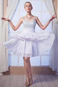 Special Beaded Straps Mini-length White Chiffon Layered Pageant Dress for Girls