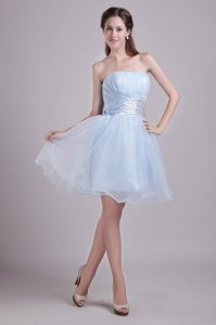 Baby Blue Ruched Strapless Knee-length Organza Pageant Dresses with Beading