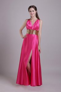 Hot Pink V-neck Floor-length Ruched Taffeta Pageant Dress with Belt and High Slit