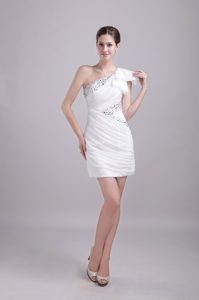 One Shoulder Mini-length White Chiffon Pageant Dress with Ruching and Beading