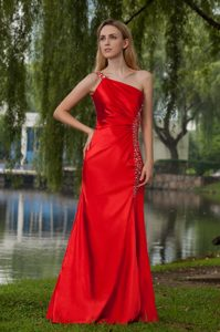 Cheap Red One Shoulder Floor-length Ruched Taffeta Pageant Dress with Beading