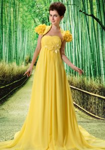 Strapless Brush Train Yellow Ruched Prom Pageant Dress with Flower and Jacket