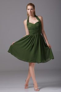 Brand New Olive Green Halter Knee-length Chiffon Pageant Dresses with Ruching