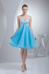 Sweetheart Knee-length Aqua Blue Organza Beauty Pageant Dress with Appliques
